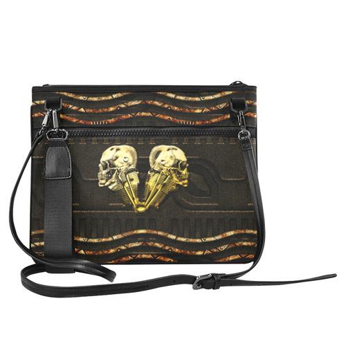 Awesome mechanical skull Slim Clutch Bag (Model 1668)