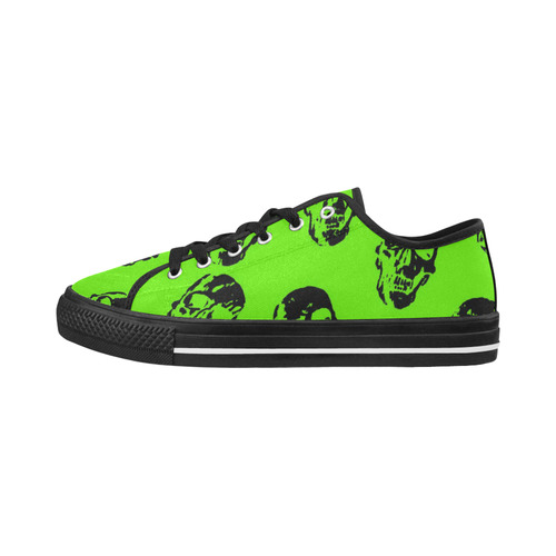 hot skulls, kiwi by JamColors Seattle Low Top Women's Shoes (Model 10136)