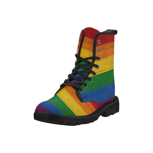 Rainbow Flag Colored Stripes Wood