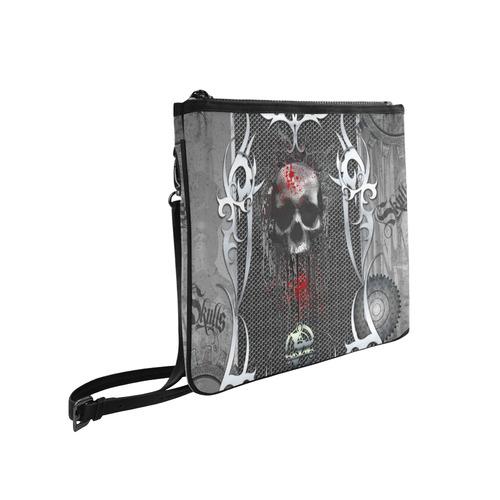 Awesome skull on metal design Slim Clutch Bag (Model 1668)