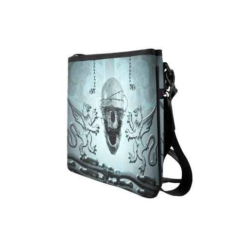 Scary skull with lion Slim Clutch Bag (Model 1668)