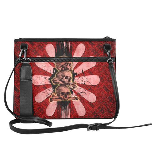 Skulls on a flower Slim Clutch Bag (Model 1668)