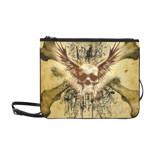 Amazing skull, wings and grunge Slim Clutch Bag (Model 1668)