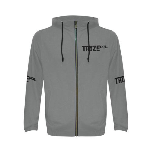 Thoze People Jacket w/ Hood (Black on Gray) All Over Print Full Zip Hoodie for Men (Model H14)