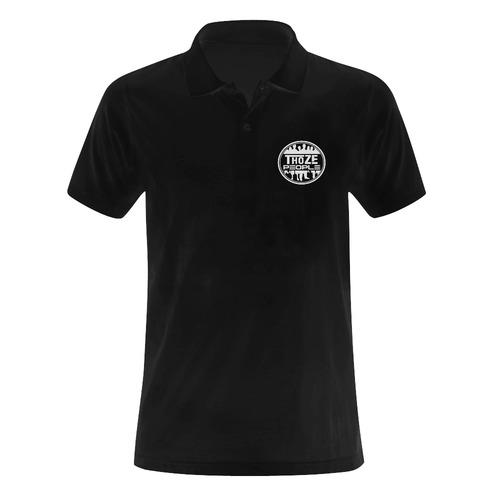 Thoze People Polo (White on Black) Men's Polo Shirt (Model T24)