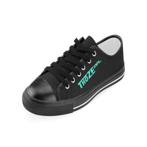 Thoze Low for Ladies (Aqua on Black) Women's Classic Canvas Shoes (Model 018)