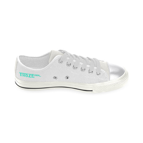 Thoze Low for Ladies (Aqua on white) Women's Classic Canvas Shoes (Model 018)