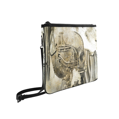 Awesome technical skull, vintage design Slim Clutch Bag (Model 1668)