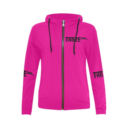 Thoze People Ladies Jacket w/ hood (black on pink) All Over Print Full Zip Hoodie for Women (Model H14)