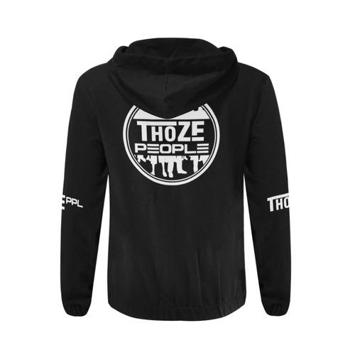 Thoze People Jacket w/ hood (White on Black) All Over Print Full Zip Hoodie for Men (Model H14)