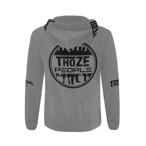 Thoze People Jacket w/ Hood (Black on Gray) All Over Print Full Zip Hoodie for Men (Model H14)