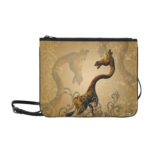 Little frightened giraffe Slim Clutch Bag (Model 1668)