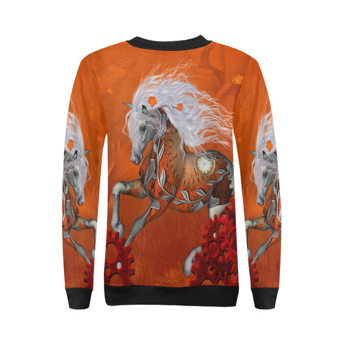 Wonderful steampunk horse, red white All Over Print Crewneck Sweatshirt for Women (Model H18)