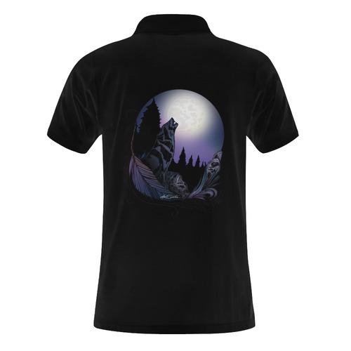 Howling Wolf Men's Polo Shirt (Model T24)