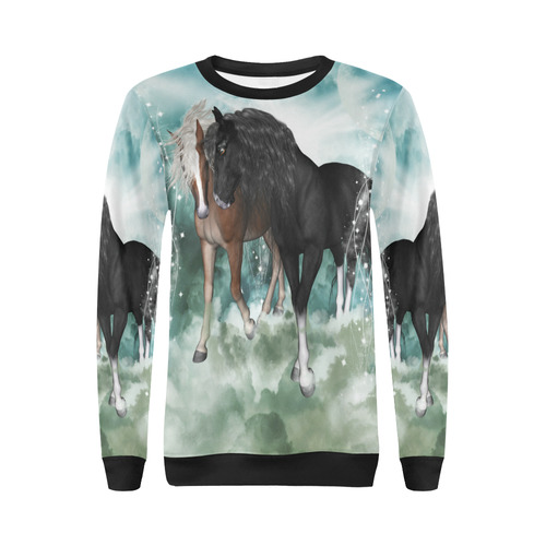 The wonderful couple horses All Over Print Crewneck Sweatshirt for Women (Model H18)
