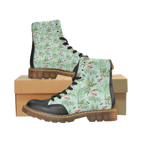 Tropical Flamingo Pattern II Apache Round Toe Men's Winter Boots (Model 1402)