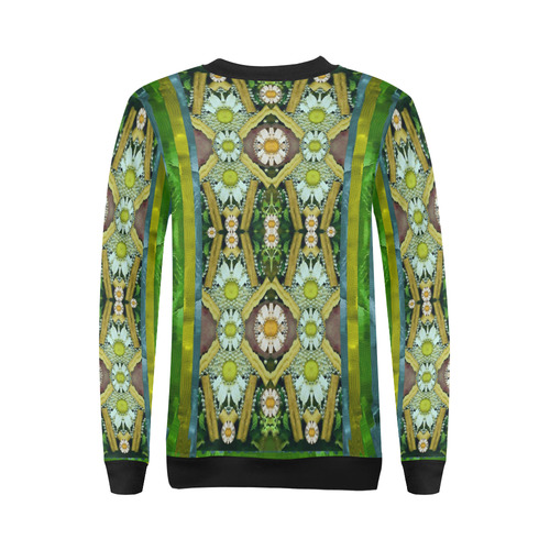 Bread sticks and fantasy flowers in a rainbow All Over Print Crewneck Sweatshirt for Women (Model H18)