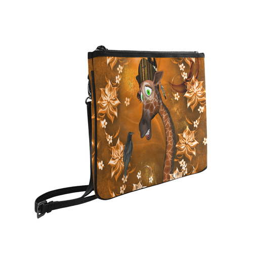Funny giraffe with feathers Slim Clutch Bag (Model 1668)