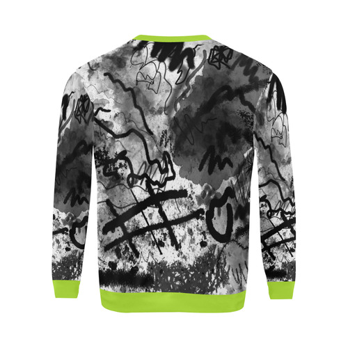 Abstract Sketch Chartreuse All Over Print Crewneck Sweatshirt for Men/Large (Model H18)