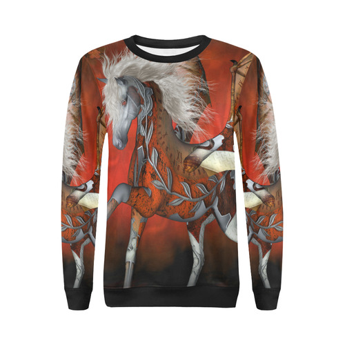 Awesome steampunk horse with wings All Over Print Crewneck Sweatshirt for Women (Model H18)