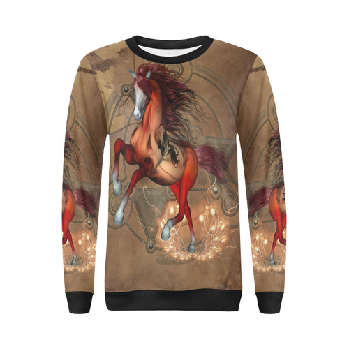 Wonderful horse with skull, red colors All Over Print Crewneck Sweatshirt for Women (Model H18)