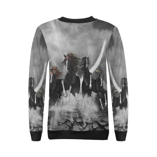 Awesome running black horses All Over Print Crewneck Sweatshirt for Women (Model H18)