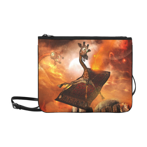 Flying giraffe on a rug Slim Clutch Bag (Model 1668)