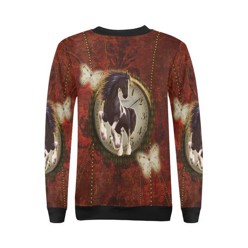 Wonderful horse on a clock All Over Print Crewneck Sweatshirt for Women (Model H18)