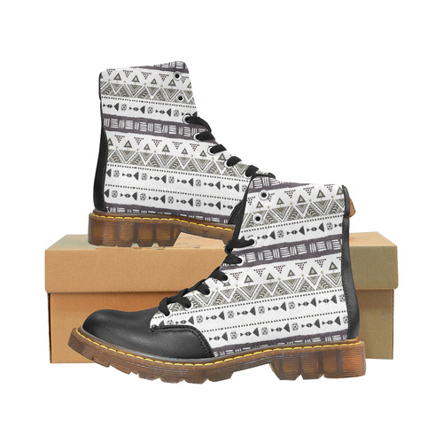 Native American Ornaments Watercolor Pattern Brown Apache Round Toe Men's Winter Boots (Model 1402)
