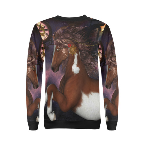 Awesome steampunk horse with clocks gears All Over Print Crewneck Sweatshirt for Women (Model H18)