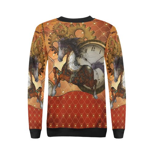 Steampunk, awesome steampunk horse All Over Print Crewneck Sweatshirt for Women (Model H18)