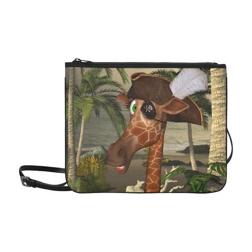 Funny giraffe as a pirate Slim Clutch Bag (Model 1668)