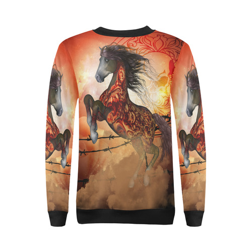 Awesome creepy horse with skulls All Over Print Crewneck Sweatshirt for Women (Model H18)