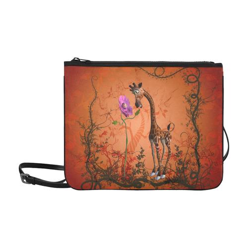 Funny giraffe speak with a flower Slim Clutch Bag (Model 1668)
