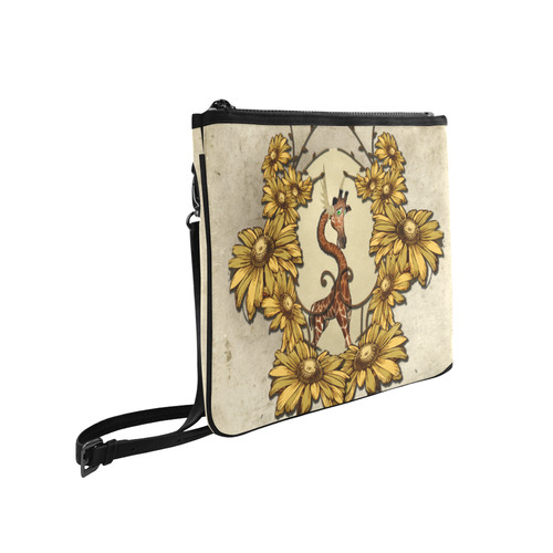 Sweet, cute giraffe with flowers Slim Clutch Bag (Model 1668)