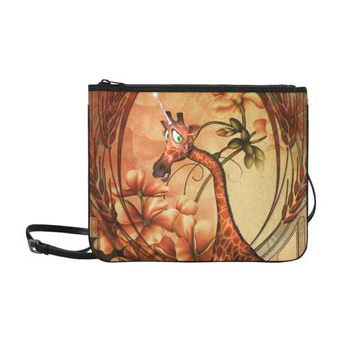 Cute unicorn giraffe Slim Clutch Bag (Model 1668)