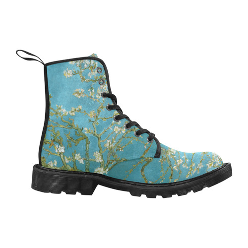 Vincent Van Gogh Blossoming Almond Tree Martin Boots for Women (Black) (Model 1203H)