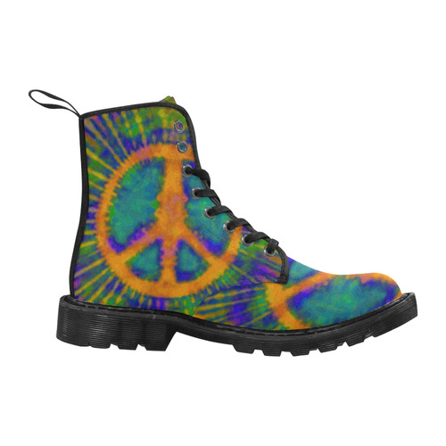 Psychedelic Tie Dye Trippy Peace Sign Martin Boots for Women (Black) (Model 1203H)