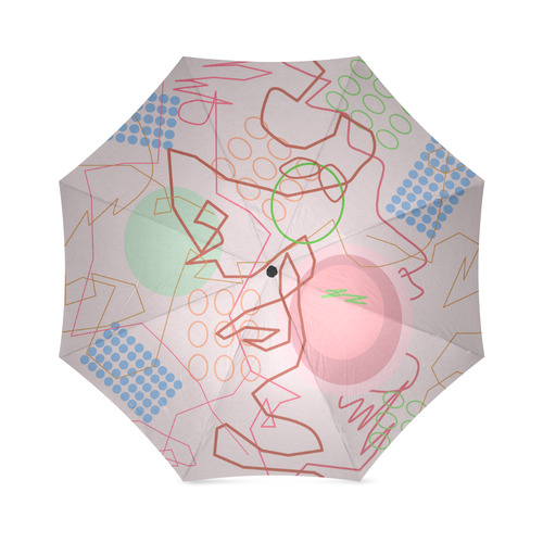 Abstract 8 pink Foldable Umbrella (Model U01)