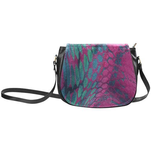 crazy purple - green snake scales animal skin design camouflage Classic Saddle Bag/Small (Model 1648)