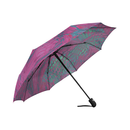 crazy purple - green snake scales animal skin design camouflage Auto-Foldable Umbrella (Model U04)