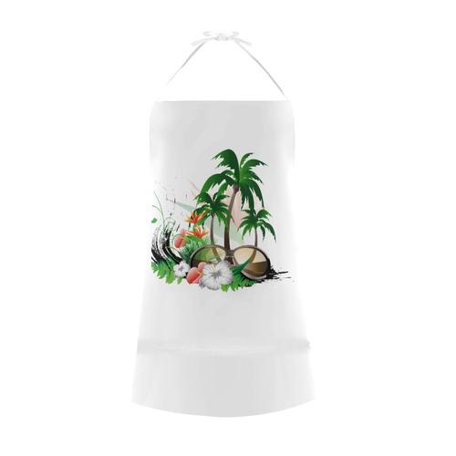 Tropical design with sunglasses Cotton Linen Apron