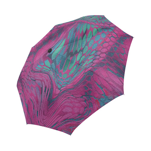 crazy purple - green snake scales animal skin design camouflage Auto-Foldable Umbrella
