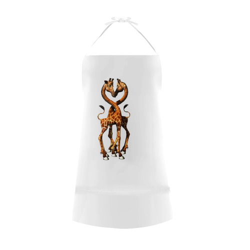 In love, cute giraffe Cotton Linen Apron