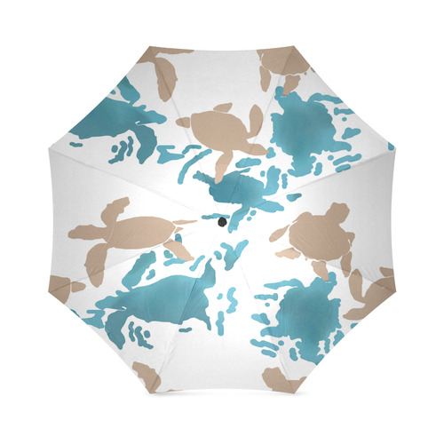 Swimming Turtles white Foldable Umbrella (Model U01)