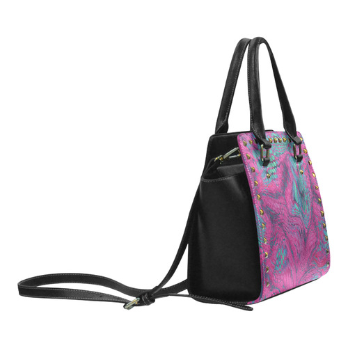 crazy purple - green snake scales animal skin design camouflage Rivet Shoulder Handbag (Model 1645)