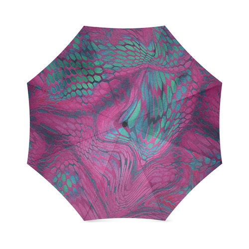 crazy purple - green snake scales animal skin design camouflage Foldable Umbrella (Model U01)