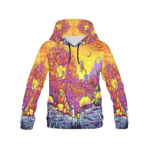 woman rick morty hoodie 2 All Over Print Hoodie for Women (USA Size) (Model  H13)  83c1920ea4ff