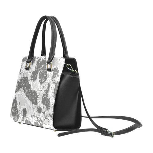 gray snake scales animal skin design camouflage Rivet Shoulder Handbag (Model 1645)