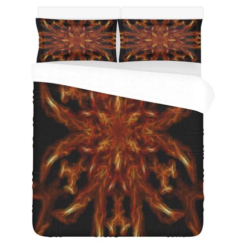 Fractal Orange Flower Energy Lines 3-Piece Bedding Set